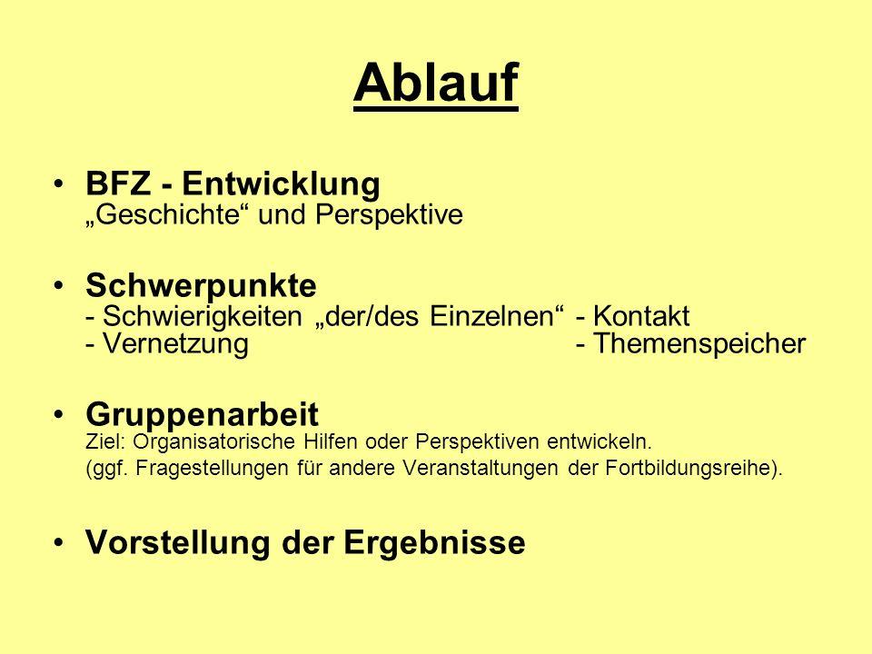 Ablauf BFZ - Entwicklung Geschichte und Perspektive Schwerpunkte - Schwierigkeiten der/des Einzelnen - Kontakt - Vernetzung- Themenspeicher Gruppenarb