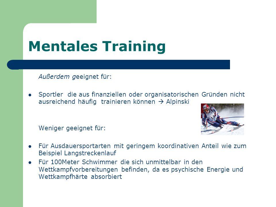 Mentales Training Außerdem geeignet für: Sportler die aus finanziellen oder organisatorischen Gründen nicht ausreichend häufig trainieren können Alpin
