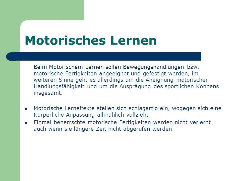 Motorisches Lernen Beim Motorischem Lernen sollen Bewegungshandlungen bzw. motorische Fertigkeiten angeeignet und gefestigt werden, im weiteren Sinne