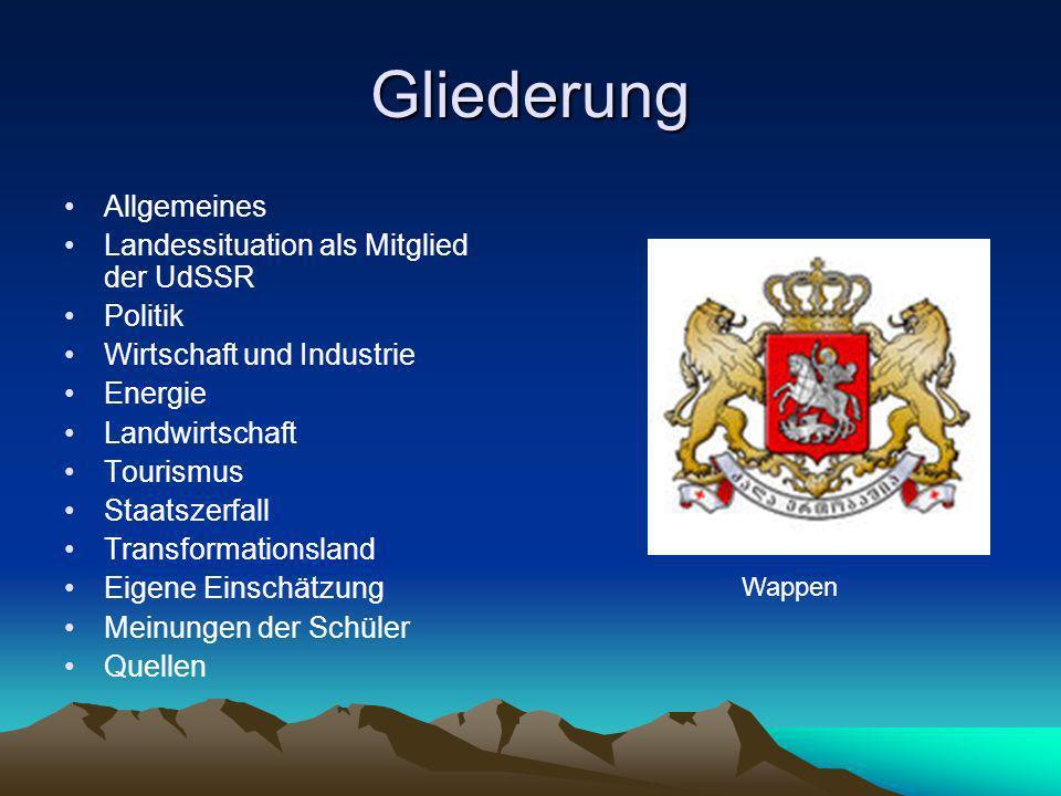 Gliederung Allgemeines Landessituation als Mitglied der UdSSR Politik Wirtschaft und Industrie Energie Landwirtschaft Tourismus Staatszerfall Transfor