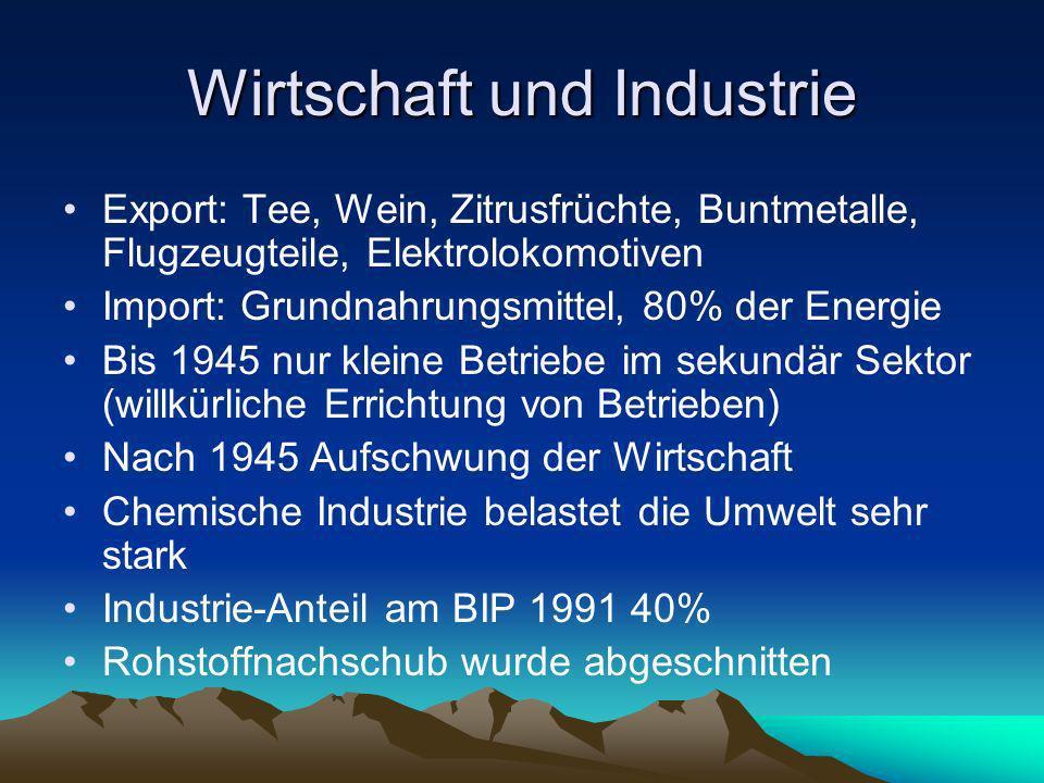 Wirtschaft und Industrie Export: Tee, Wein, Zitrusfrüchte, Buntmetalle, Flugzeugteile, Elektrolokomotiven Import: Grundnahrungsmittel, 80% der Energie