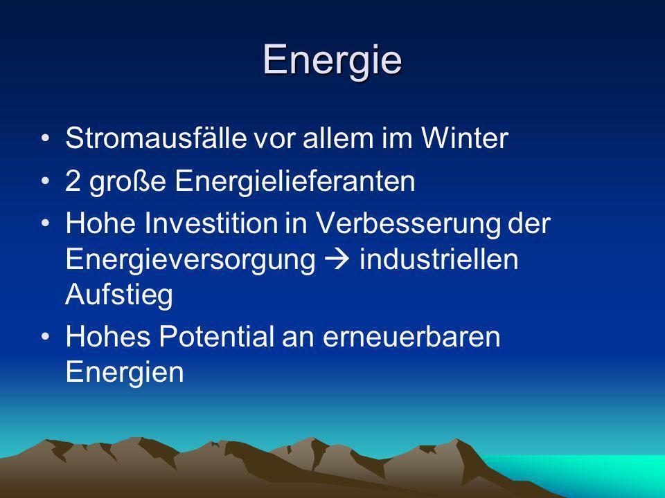 Energie Stromausfälle vor allem im Winter 2 große Energielieferanten Hohe Investition in Verbesserung der Energieversorgung industriellen Aufstieg Hoh