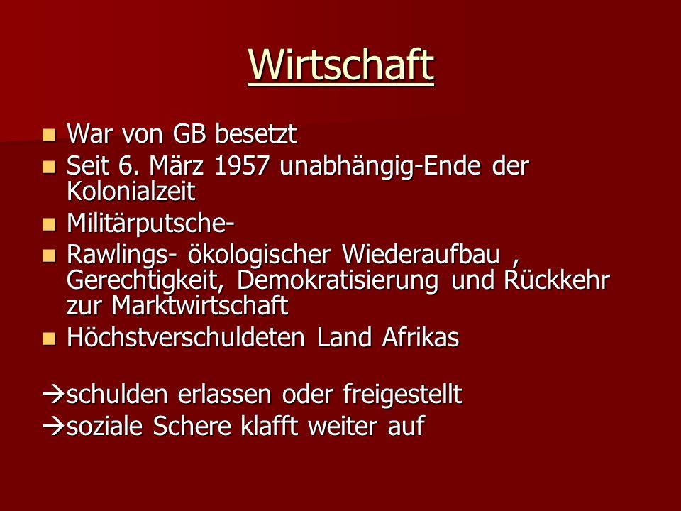 Wirtschaft War von GB besetzt War von GB besetzt Seit 6.