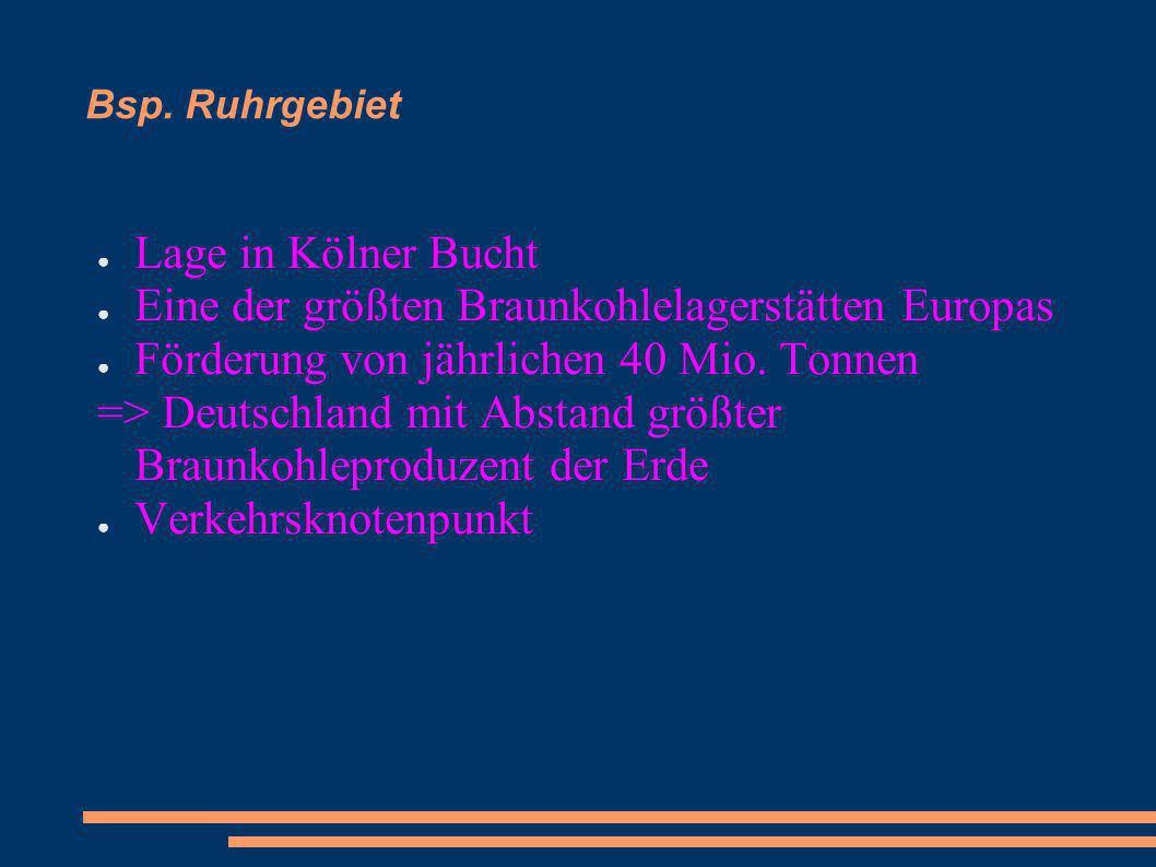 Bsp. Ruhrgebiet Lage in Kölner Bucht Eine der größten Braunkohlelagerstätten Europas Förderung von jährlichen 40 Mio. Tonnen => Deutschland mit Abstan