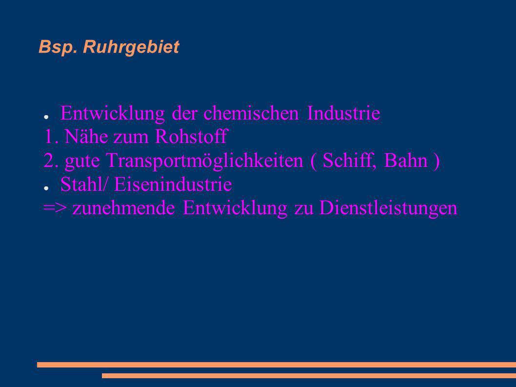 Bsp. Ruhrgebiet Entwicklung der chemischen Industrie 1. Nähe zum Rohstoff 2. gute Transportmöglichkeiten ( Schiff, Bahn ) Stahl/ Eisenindustrie => zun
