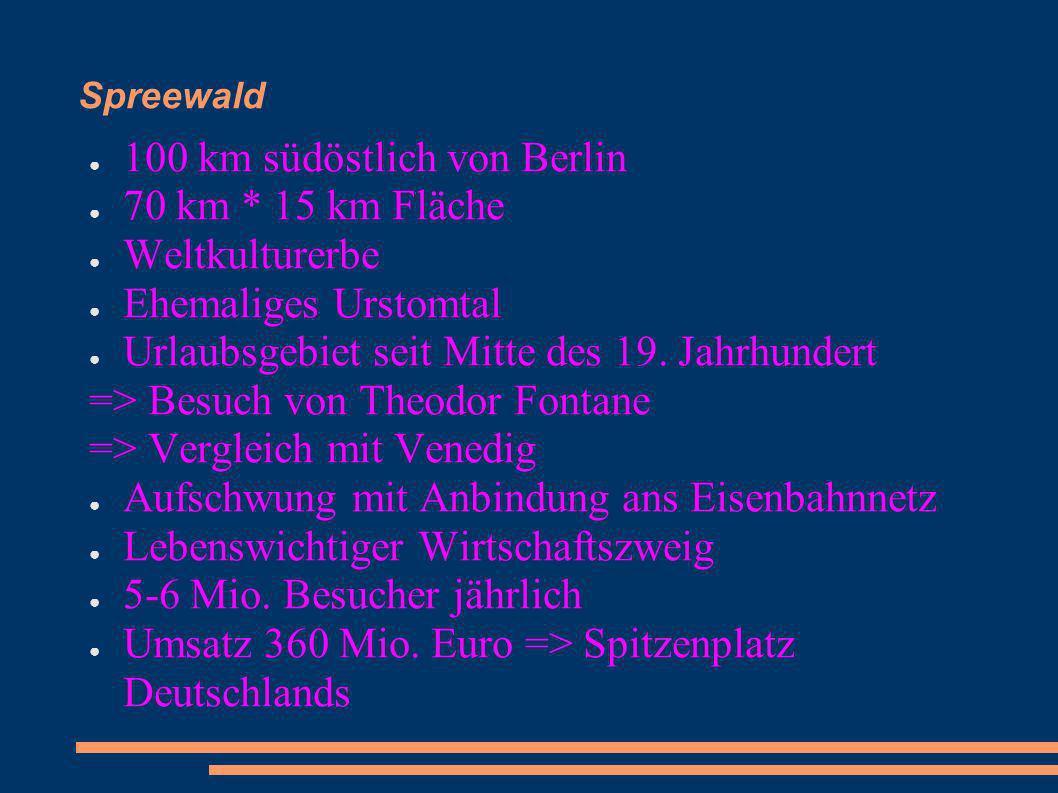 100 km südöstlich von Berlin 70 km * 15 km Fläche Weltkulturerbe Ehemaliges Urstomtal Urlaubsgebiet seit Mitte des 19. Jahrhundert => Besuch von Theod