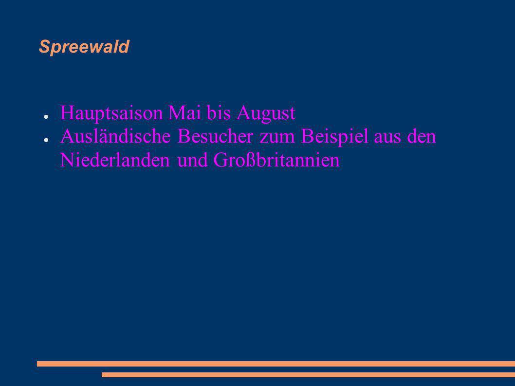 Spreewald Hauptsaison Mai bis August Ausländische Besucher zum Beispiel aus den Niederlanden und Großbritannien