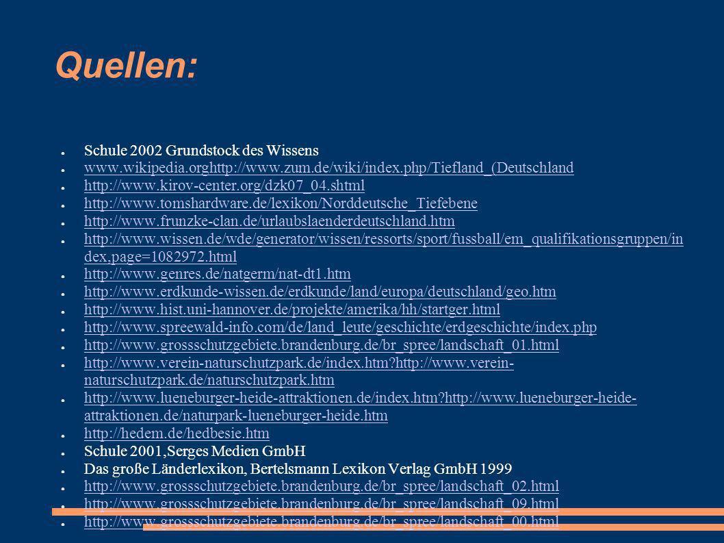 Quellen: Schule 2002 Grundstock des Wissens www.wikipedia.orghttp://www.zum.de/wiki/index.php/Tiefland_(Deutschland www.wikipedia.orghttp://www.zum.de