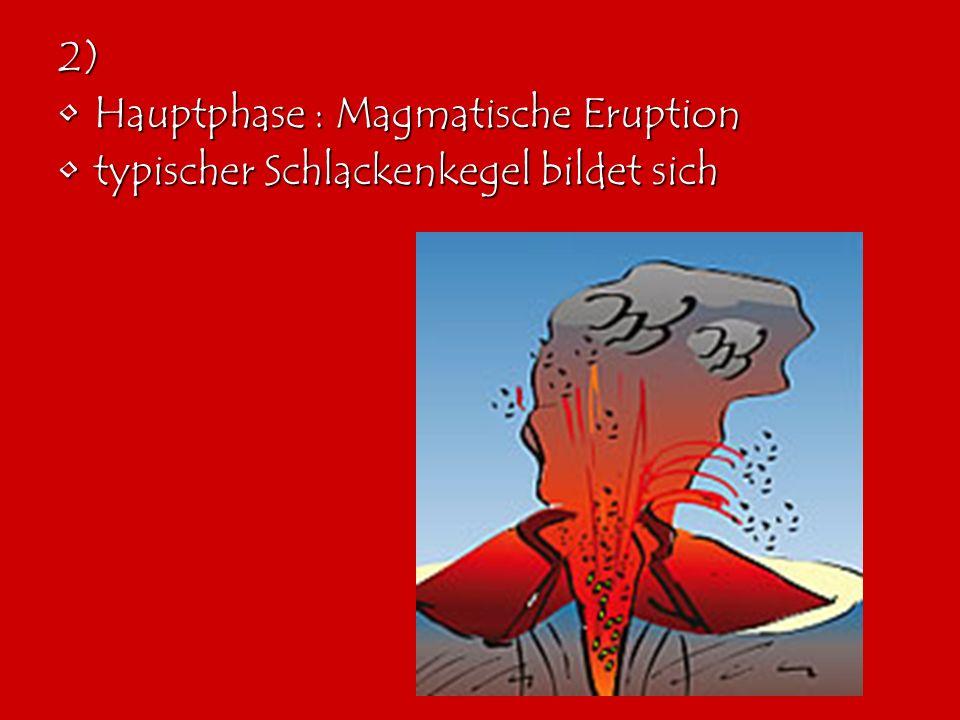 2) Hauptphase : Magmatische EruptionHauptphase : Magmatische Eruption typischer Schlackenkegel bildet sichtypischer Schlackenkegel bildet sich