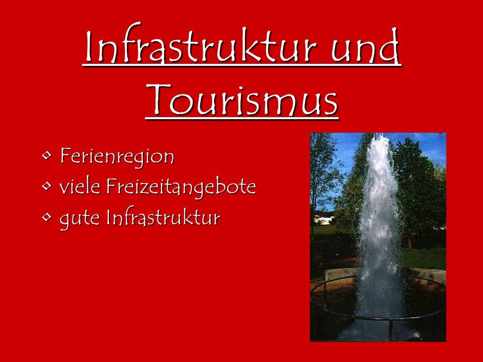 Infrastruktur und Tourismus FerienregionFerienregion viele Freizeitangeboteviele Freizeitangebote gute Infrastrukturgute Infrastruktur