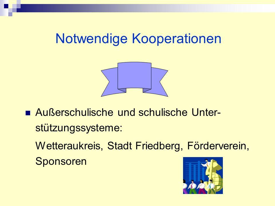 Außerschulische und schulische Unter- stützungssysteme: Wetteraukreis, Stadt Friedberg, Förderverein, Sponsoren Notwendige Kooperationen