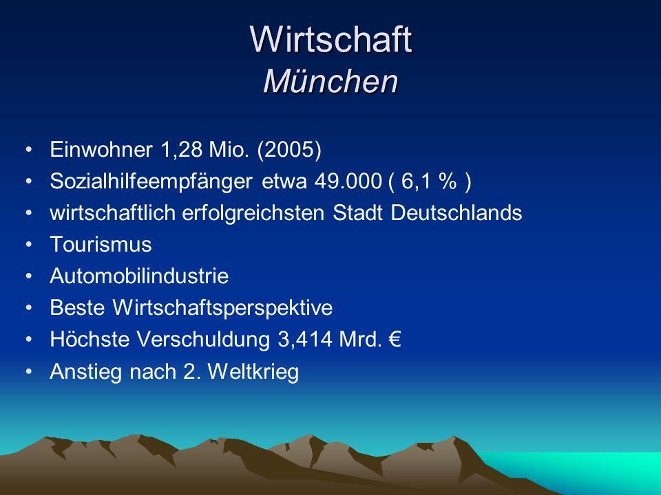 Wirtschaft München Einwohner 1,28 Mio. (2005) Sozialhilfeempfänger etwa 49.000 ( 6,1 % ) wirtschaftlich erfolgreichsten Stadt Deutschlands Tourismus A