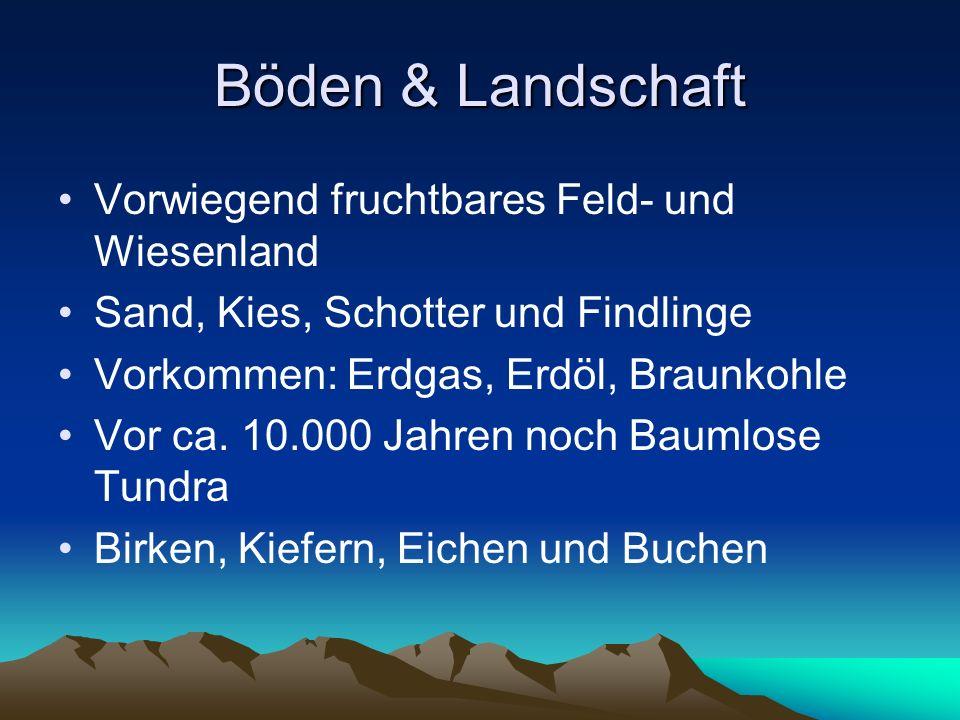 Böden & Landschaft Vorwiegend fruchtbares Feld- und Wiesenland Sand, Kies, Schotter und Findlinge Vorkommen: Erdgas, Erdöl, Braunkohle Vor ca. 10.000