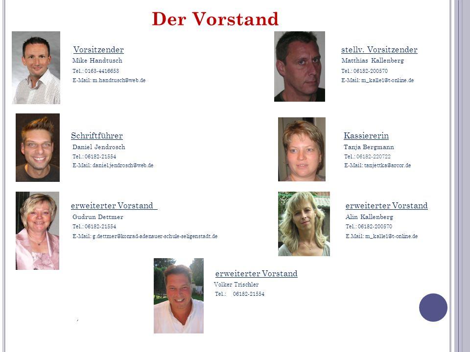 Der Vorstand Vorsitzender stellv. Vorsitzender Mike Handtusch Matthias Kallenberg Tel.: 0163-4416653 Tel.: 06182-200570 E-Mail: m.handtusch@web.de E-M