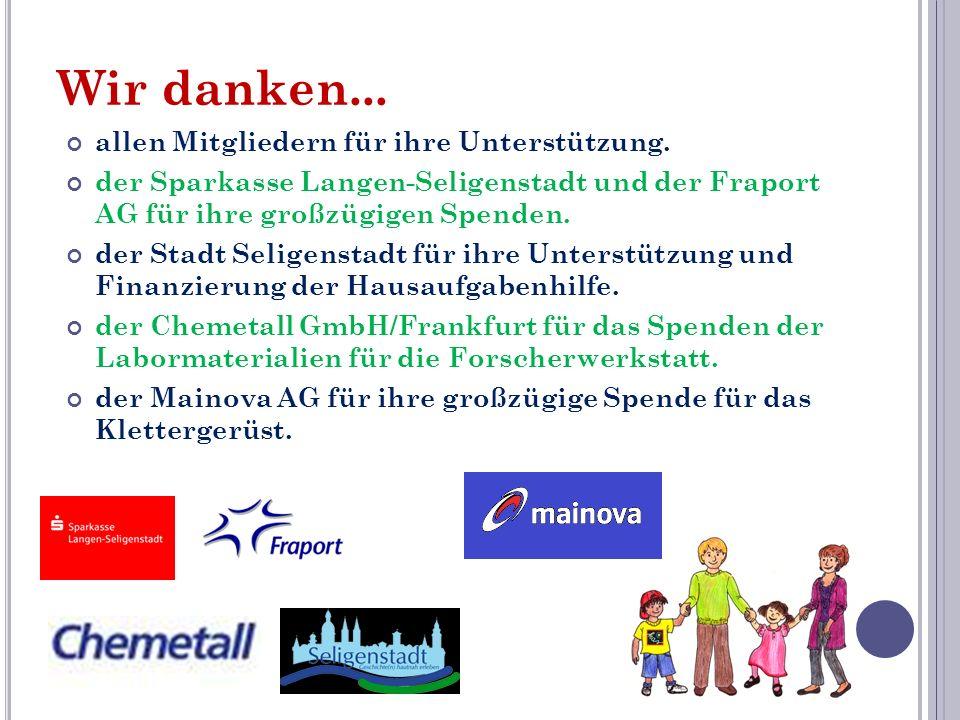 Wir danken... allen Mitgliedern für ihre Unterstützung. der Sparkasse Langen-Seligenstadt und der Fraport AG für ihre großzügigen Spenden. der Stadt S