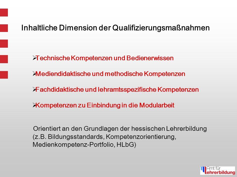 Inhaltliche Dimension der Qualifizierungsmaßnahmen Technische Kompetenzen und Bedienerwissen Mediendidaktische und methodische Kompetenzen Fachdidaktische und lehramtsspezifische Kompetenzen Kompetenzen zu Einbindung in die Modularbeit Orientiert an den Grundlagen der hessischen Lehrerbildung (z.B.