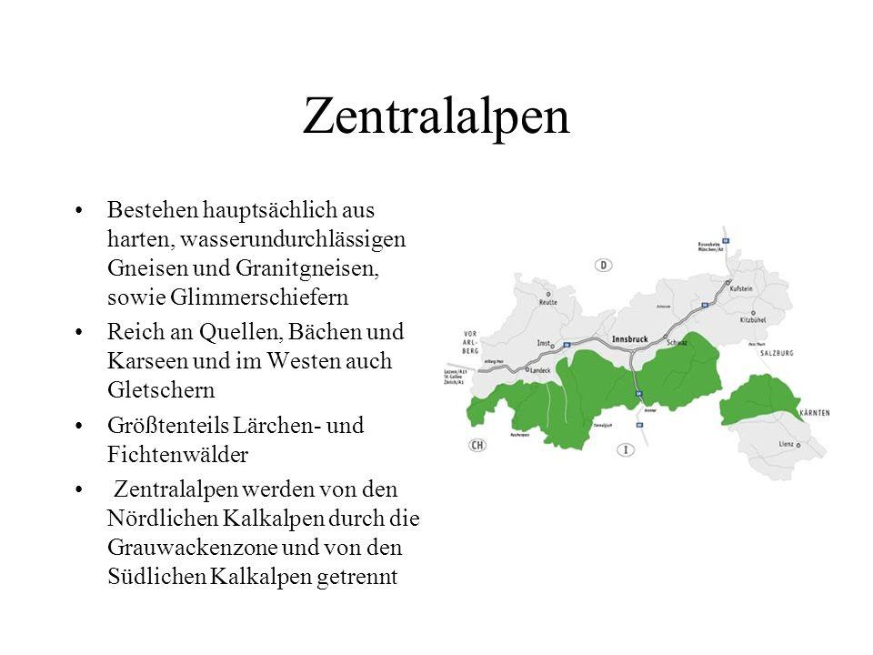 Nördliche Kalkalpen Vorwiegend Fichtenmischwälder An der Basis befinden sich Salz- und Gipsablagerungen Bayrische und Allgäuer Alpen