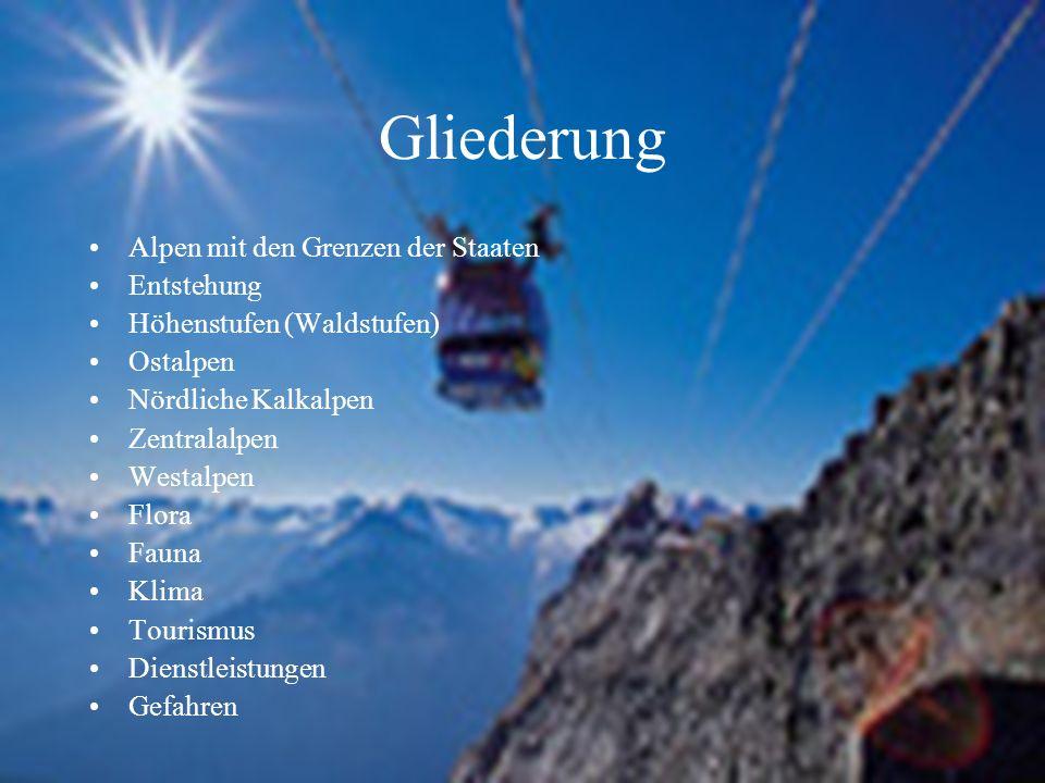 Gliederung Alpen mit den Grenzen der Staaten Entstehung Höhenstufen (Waldstufen) Ostalpen Nördliche Kalkalpen Zentralalpen Westalpen Flora Fauna Klima Tourismus Dienstleistungen Gefahren
