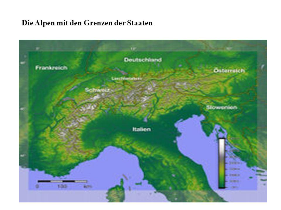 Die Alpen mit den Grenzen der Staaten