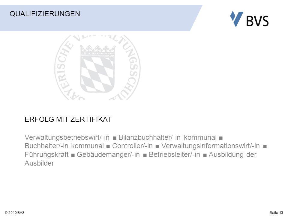 Seite 13© 2010 BVS ERFOLG MIT ZERTIFIKAT Verwaltungsbetriebswirt/-in Bilanzbuchhalter/-in kommunal Buchhalter/-in kommunal Controller/-in Verwaltungsi