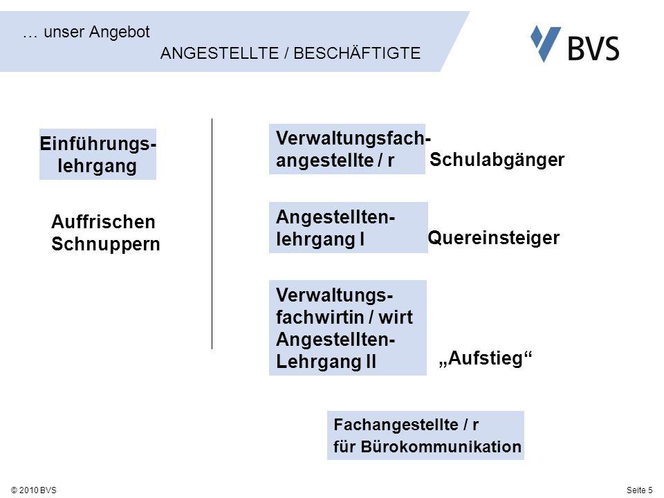 Seite 5© 2010 BVS … unser Angebot ANGESTELLTE / BESCHÄFTIGTE Einführungs- lehrgang Verwaltungsfach- angestellte / r Angestellten- lehrgang I Quereinst