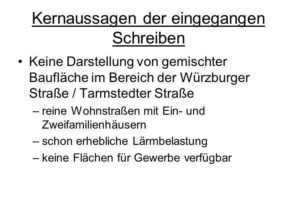 Kernaussagen der eingegangen Schreiben Keine Darstellung von gemischter Baufläche im Bereich der Würzburger Straße / Tarmstedter Straße –reine Wohnstraßen mit Ein- und Zweifamilienhäusern –schon erhebliche Lärmbelastung –keine Flächen für Gewerbe verfügbar