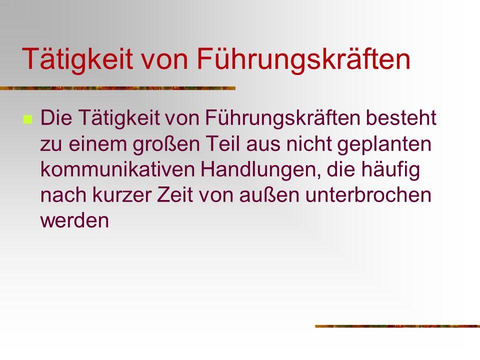 Luthans/Rosenkrantz 1995 Klassifizierung der Kommunikations- aktivitäten von Führungskräften Routinekommunikation (z.B: Informationsaustausch, Schreibtischarbeit) Traditionelle Managementfunktionen (z.B.