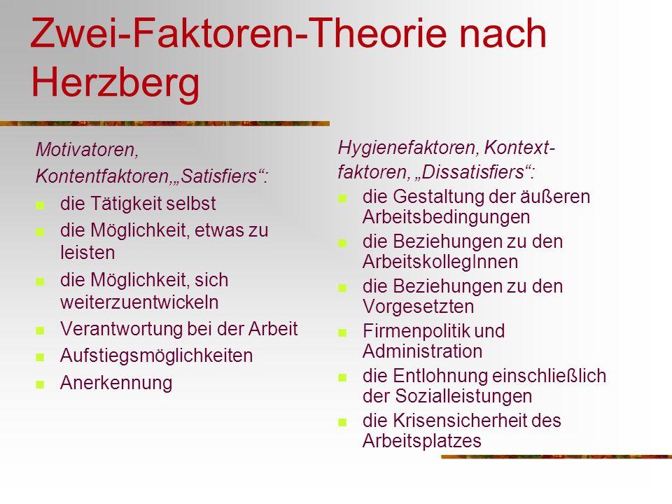 Zwei-Faktoren-Theorie nach Herzberg Motivatoren, Kontentfaktoren,Satisfiers: die Tätigkeit selbst die Möglichkeit, etwas zu leisten die Möglichkeit, s