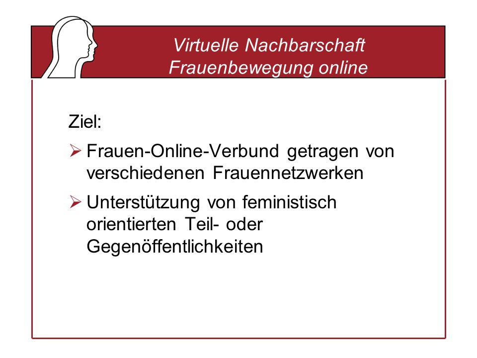 Virtuelle Nachbarschaft Frauenbewegung online Ziel: Frauen-Online-Verbund getragen von verschiedenen Frauennetzwerken Unterstützung von feministisch orientierten Teil- oder Gegenöffentlichkeiten