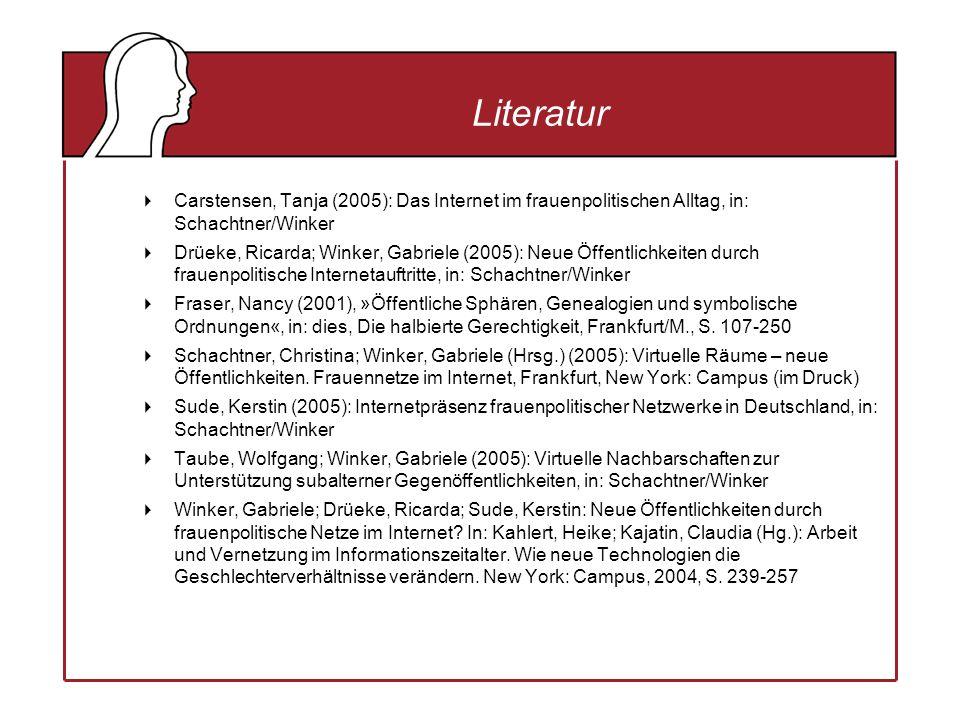 Literatur Carstensen, Tanja (2005): Das Internet im frauenpolitischen Alltag, in: Schachtner/Winker Drüeke, Ricarda; Winker, Gabriele (2005): Neue Öffentlichkeiten durch frauenpolitische Internetauftritte, in: Schachtner/Winker Fraser, Nancy (2001), »Öffentliche Sphären, Genealogien und symbolische Ordnungen«, in: dies, Die halbierte Gerechtigkeit, Frankfurt/M., S.