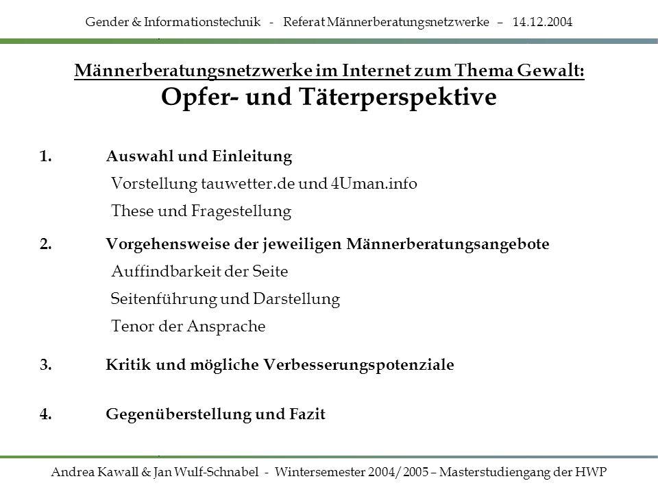 Gender & Informationstechnik - Referat Männerberatungsnetzwerke – 14.12.2004 Männerberatungsnetzwerke im Internet zum Thema Gewalt: Opfer- und Täterpe