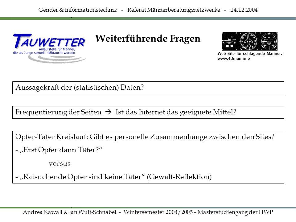 Weiterführende Fragen Gender & Informationstechnik - Referat Männerberatungsnetzwerke – 14.12.2004 Andrea Kawall & Jan Wulf-Schnabel - Wintersemester