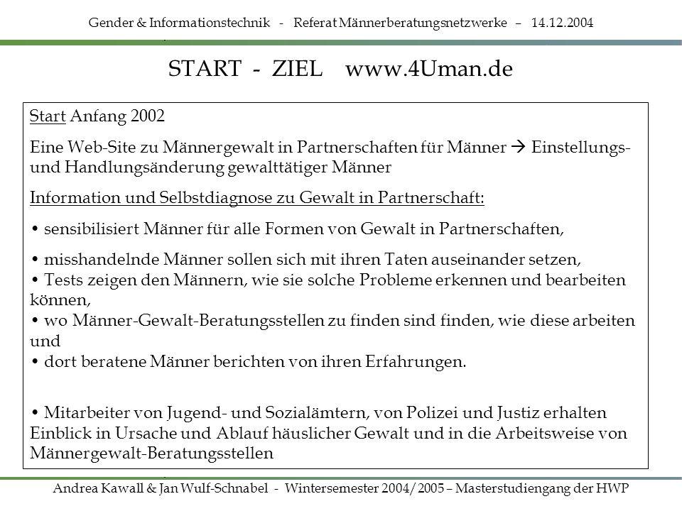 START - ZIEL www.4Uman.de Gender & Informationstechnik - Referat Männerberatungsnetzwerke – 14.12.2004 Andrea Kawall & Jan Wulf-Schnabel - Wintersemes