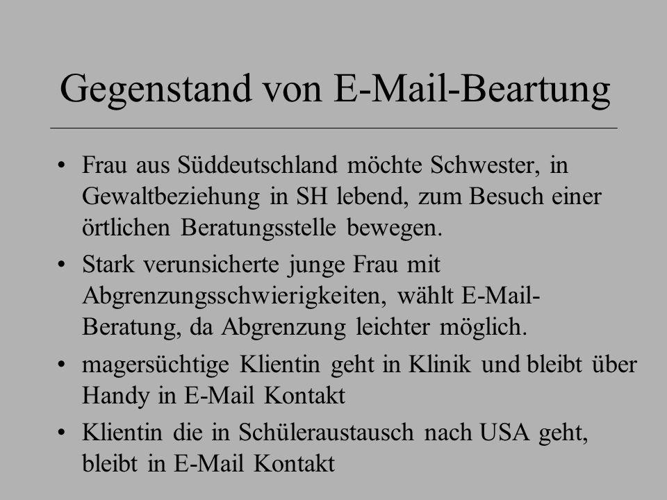 Gegenstand von E-Mail-Beartung Frau aus Süddeutschland möchte Schwester, in Gewaltbeziehung in SH lebend, zum Besuch einer örtlichen Beratungsstelle b