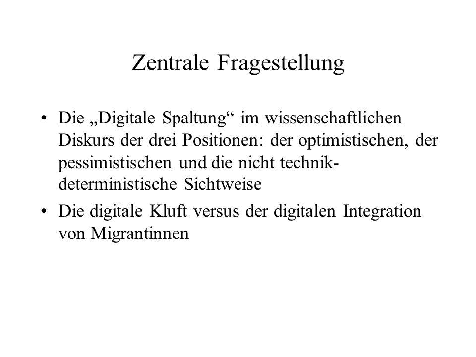 Zentrale Fragestellung Die Digitale Spaltung im wissenschaftlichen Diskurs der drei Positionen: der optimistischen, der pessimistischen und die nicht