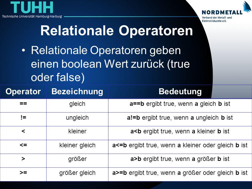 Relationale Operatoren Relationale Operatoren geben einen boolean Wert zurück (true oder false) 11 OperatorBezeichnungBedeutung ==gleicha==b ergibt tr