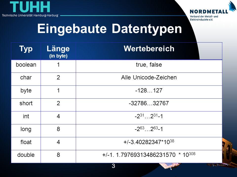 Eingebaute Datentypen 3 TypLänge (in byte) Wertebereich boolean1true, false char2Alle Unicode-Zeichen byte1-128…127 short2-32786…32767 int4-2 31 …2 31 -1 long8-2 63 …2 63 -1 float4+/-3.40282347*10 38 double8+/-1.
