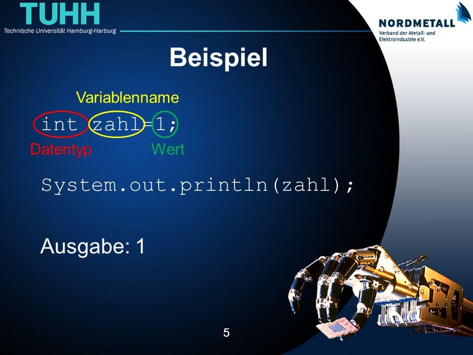 Beispiel int zahl=1; System.out.println(zahl); Ausgabe: 1 5 Datentyp Variablenname Wert