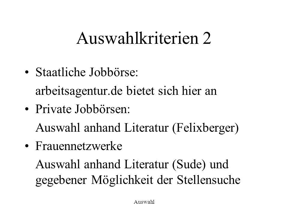 Auswahl Auswahlkriterien 2 Staatliche Jobbörse: arbeitsagentur.de bietet sich hier an Private Jobbörsen: Auswahl anhand Literatur (Felixberger) Frauen