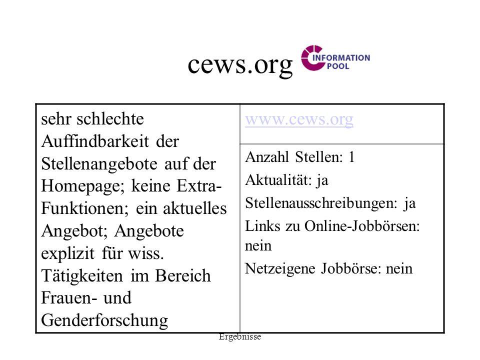 Ergebnisse cews.org sehr schlechte Auffindbarkeit der Stellenangebote auf der Homepage; keine Extra- Funktionen; ein aktuelles Angebot; Angebote expli