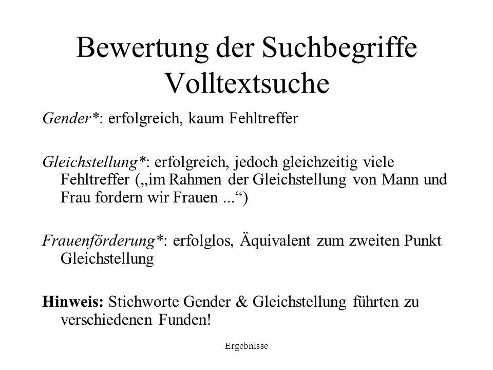 Ergebnisse Bewertung der Suchbegriffe Volltextsuche Gender*: erfolgreich, kaum Fehltreffer Gleichstellung*: erfolgreich, jedoch gleichzeitig viele Feh