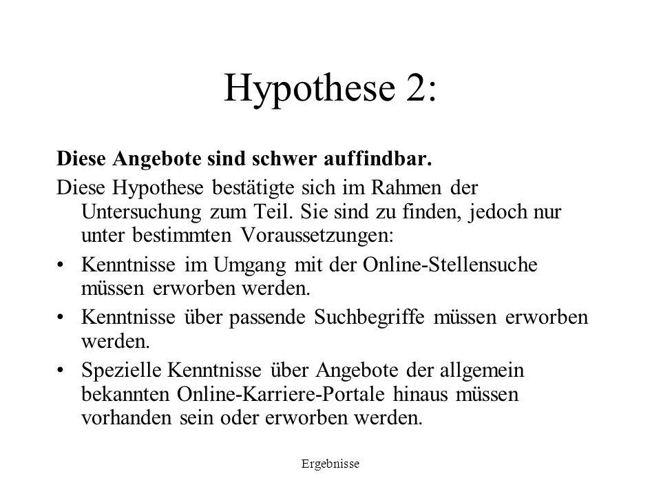 Ergebnisse Hypothese 2: Diese Angebote sind schwer auffindbar. Diese Hypothese bestätigte sich im Rahmen der Untersuchung zum Teil. Sie sind zu finden