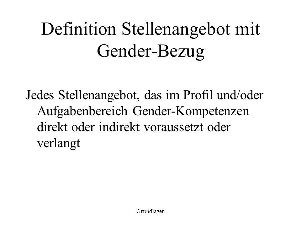 Grundlagen Definition Stellenangebot mit Gender-Bezug Jedes Stellenangebot, das im Profil und/oder Aufgabenbereich Gender-Kompetenzen direkt oder indi