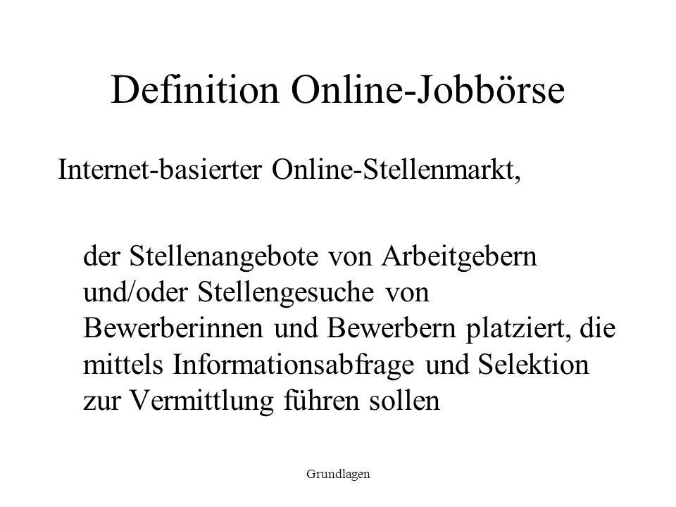 Grundlagen Definition Online-Jobbörse Internet-basierter Online-Stellenmarkt, der Stellenangebote von Arbeitgebern und/oder Stellengesuche von Bewerbe