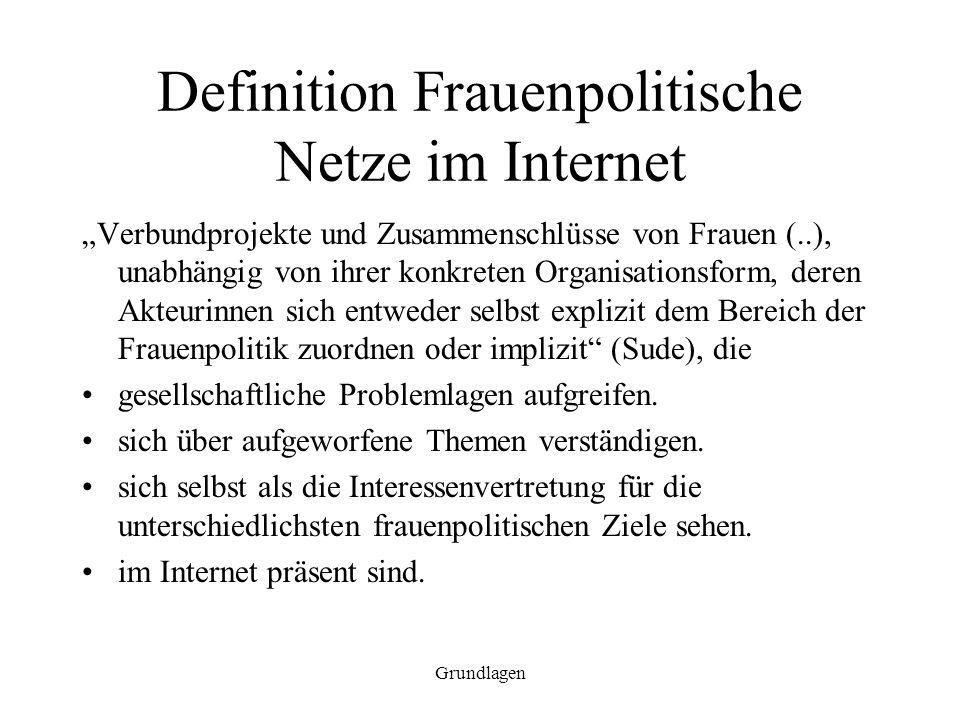 Grundlagen Definition Frauenpolitische Netze im Internet Verbundprojekte und Zusammenschlüsse von Frauen (..), unabhängig von ihrer konkreten Organisa