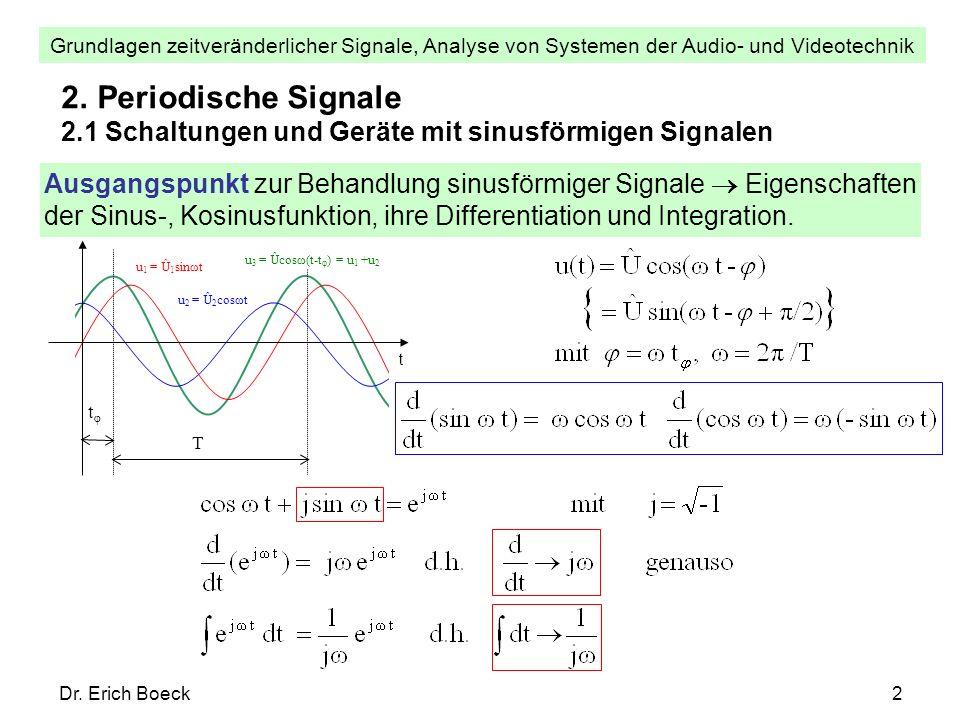 Grundlagen zeitveränderlicher Signale, Analyse von Systemen der Audio- und Videotechnik Dr. Erich Boeck2 2.Periodische Signale 2.1 Schaltungen und Ger