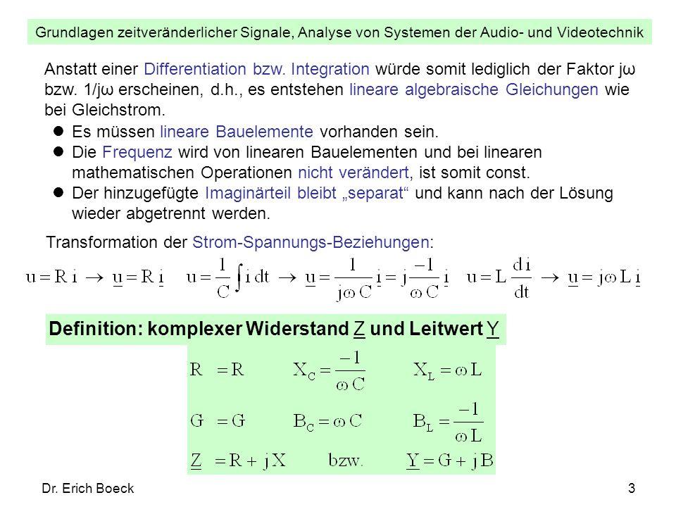 Grundlagen zeitveränderlicher Signale, Analyse von Systemen der Audio- und Videotechnik Dr. Erich Boeck3 Anstatt einer Differentiation bzw. Integratio
