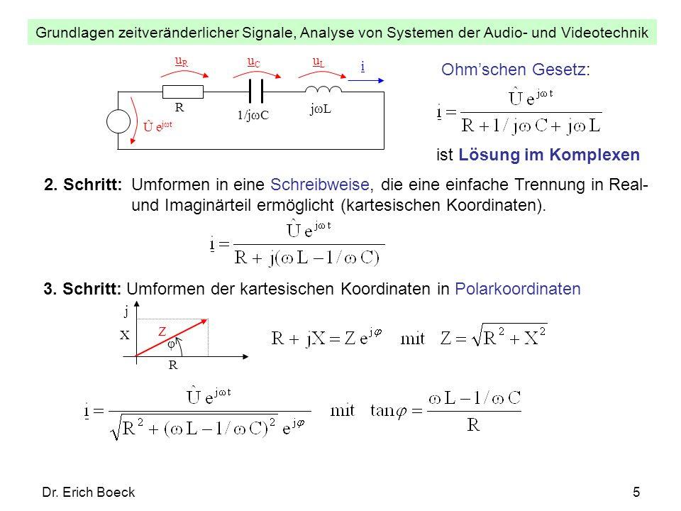 Grundlagen zeitveränderlicher Signale, Analyse von Systemen der Audio- und Videotechnik Dr. Erich Boeck5 uLuL Û e jωt uRuR R i uCuC 1/jωC jωL Ohmschen
