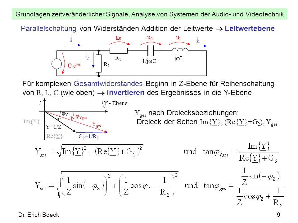 Grundlagen zeitveränderlicher Signale, Analyse von Systemen der Audio- und Videotechnik Dr. Erich Boeck9 Parallelschaltung von Widerständen Addition d
