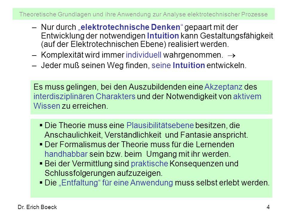 Theoretische Grundlagen und ihre Anwendung zur Analyse elektrotechnischer Prozesse Dr. Erich Boeck4 –Nur durch elektrotechnische Denken gepaart mit de